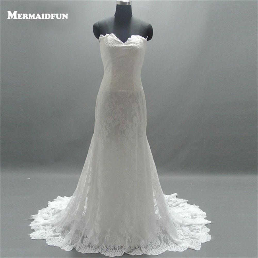 real images mermaid strapless court train laceup back wedding