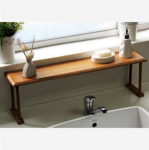 bamboo over the sink shelf - bamboo kitchen decor | in the kitchen