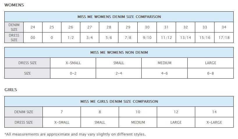 Miss Me Jean Conversion Size Chart