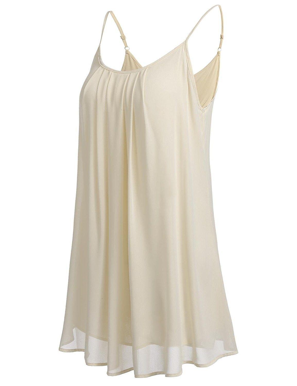 8a00fa73760 Women Pleated Chiffon Layered Tank Tops Cool Casual Loose Camisole ...