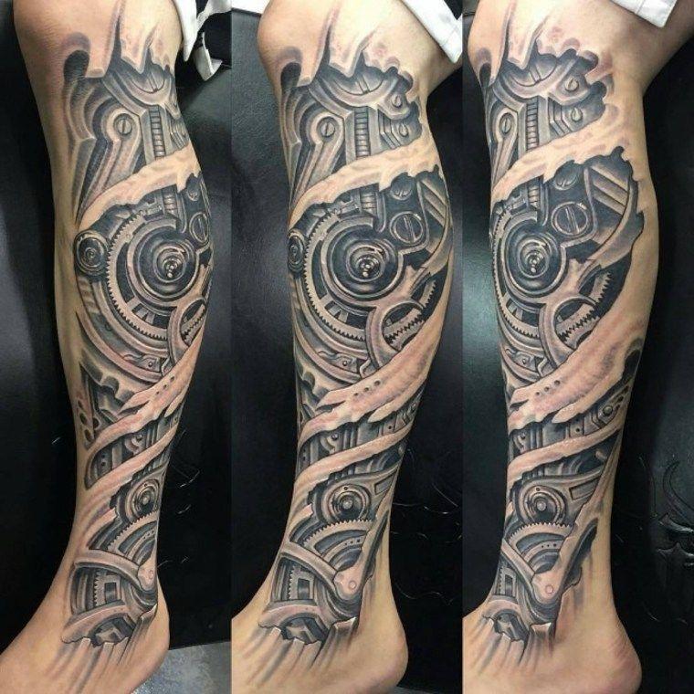 Tattoo on the leg Biomechanical tattoo, Biomechanical