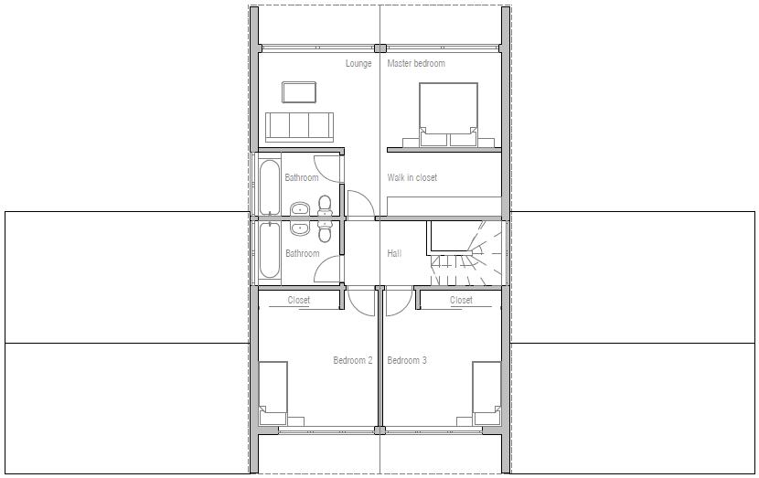 Plano moderno de casa muy amplia con 4 dormitorios-3