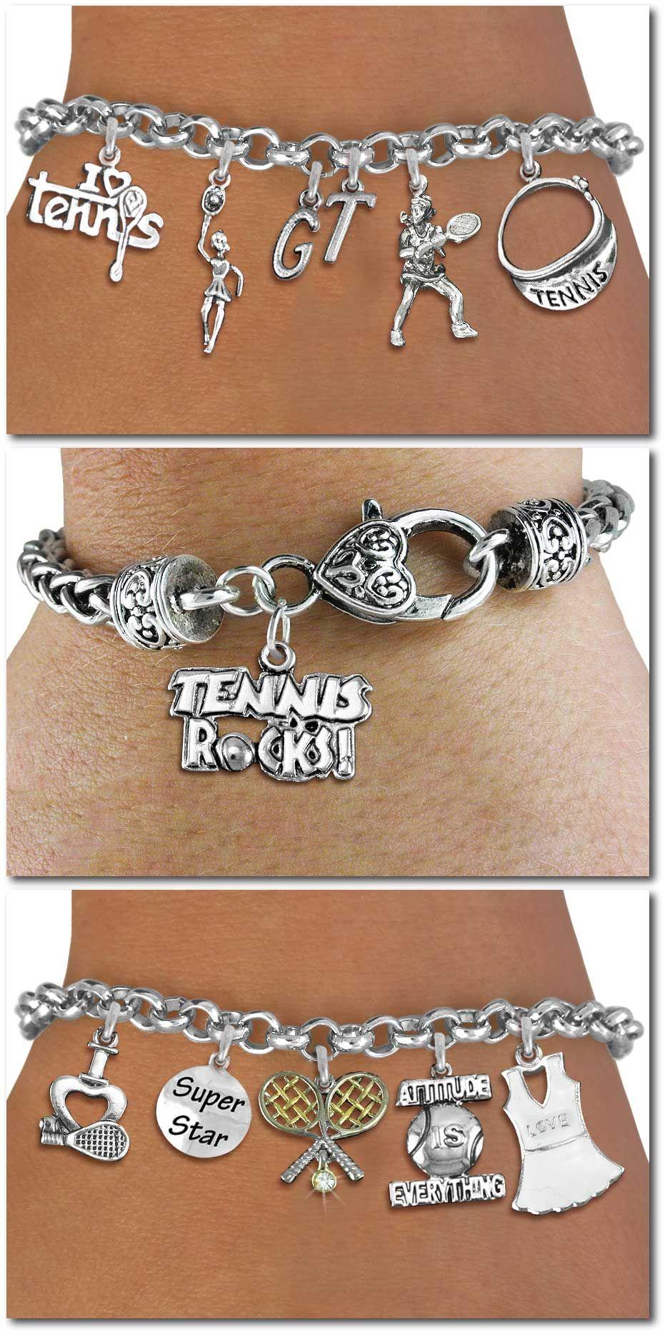 879fdd7a0 Tennis Five Charm bracelet - Silver Chain Bracelet W Silver Charms  Personalize W Initials