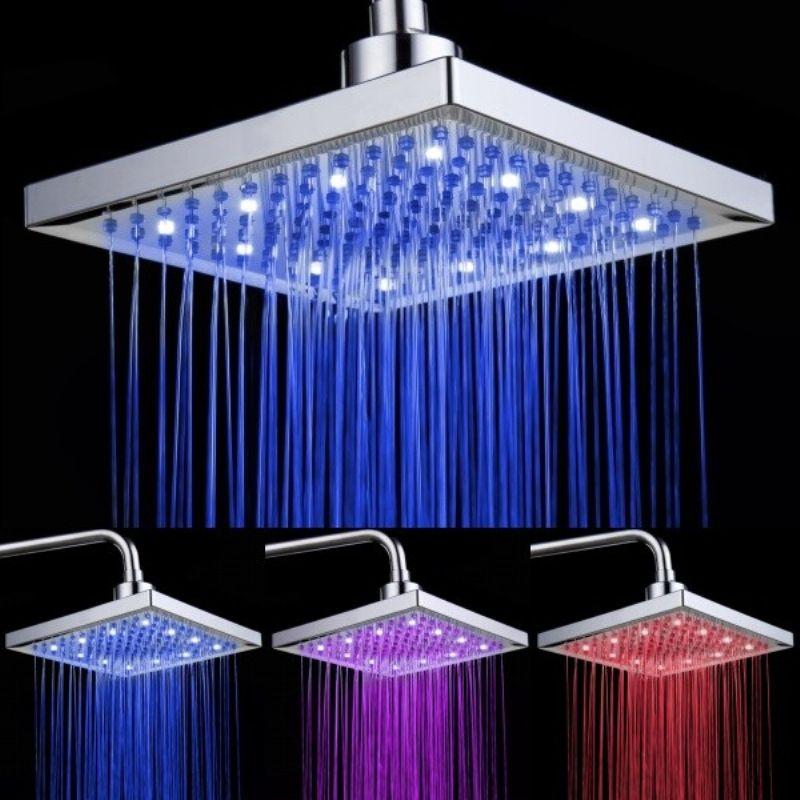 Chromed Brass Square Led Rain Shower Head 8 Inch 0913 8104 Led Shower Head Ceiling Shower Head Shower Heads