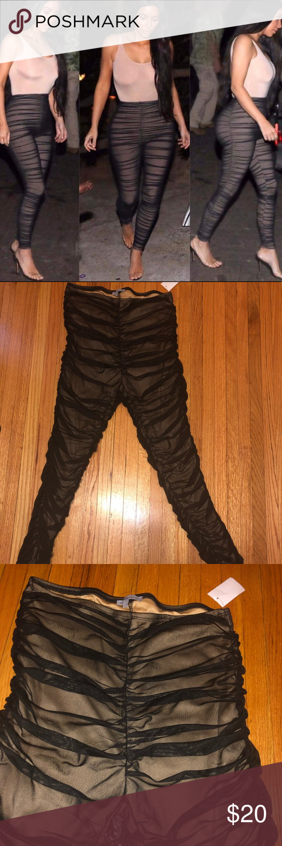 6e0717cac8f2df Black/Nude Mesh Ruched Leggings Nice dupe. Fits like Juniors L. NWT  Charlotte