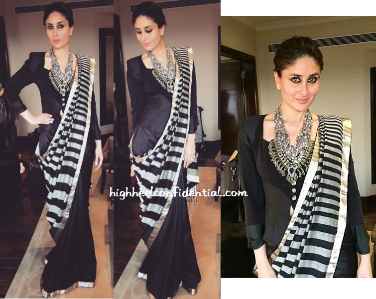 Instead of a traditional blouse, the striped Dev R Nil sari was paired with a vintage Christian Lacroix jacket and the look was finished out with a a statement Amrapali necklace.