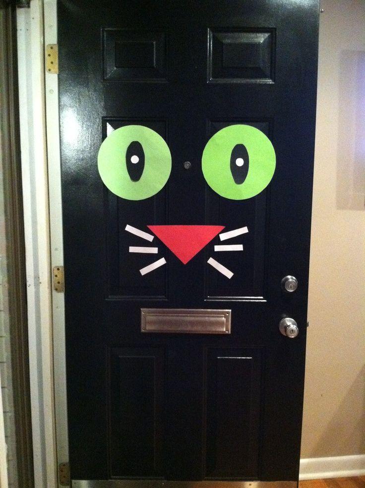 black door halloween Halloween front door decoration - Black Cat - decorating front door for halloween