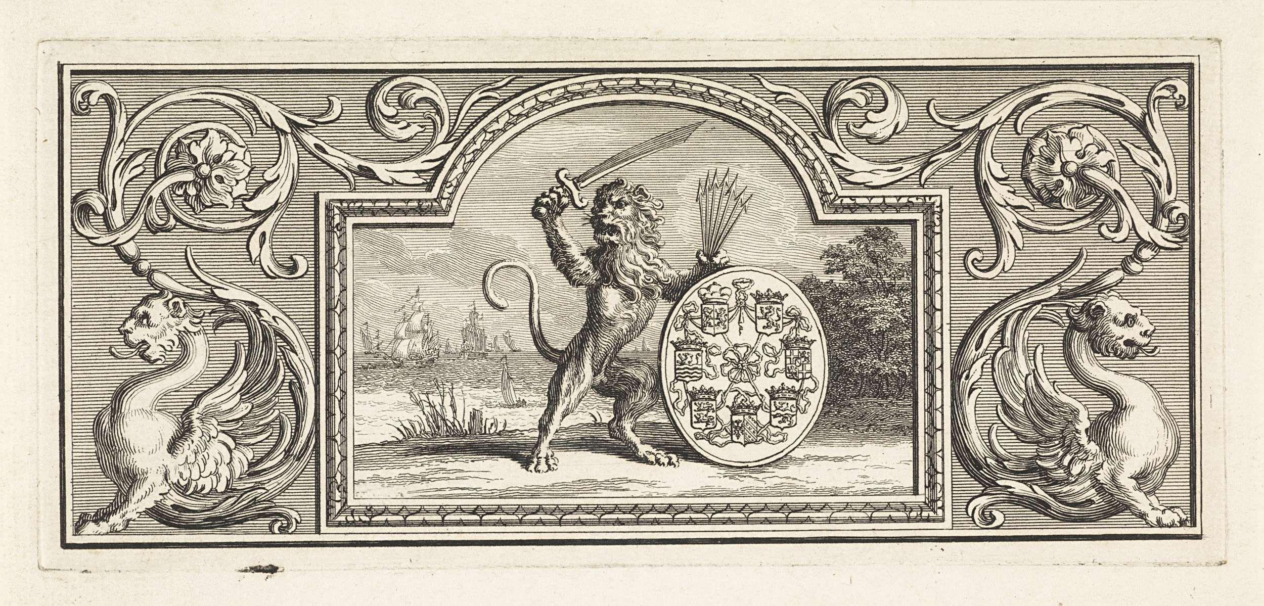 Bernard Picart | Hollandse leeuw die het wapen van de zeven provincieën vasthoudt, Bernard Picart, 1716 | De Hollandse leeuw met zwaard en de bundel pijlen in de handen bij een schild met de wapenschilden van de Zeven Provincieën. De voorstelling is gevat in een ornamentele lijst.
