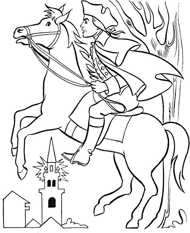 Paul Revere With Horse Coloring For Kids | Social Studies Activities ...