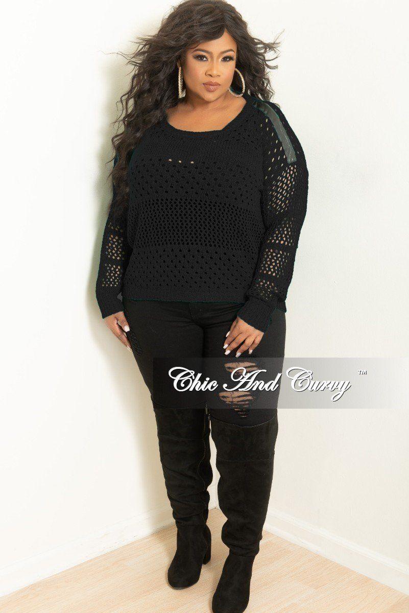 b0bf74b234a Final Sale Plus Size Long Sleeve Crochet Sweater in Black w/ Black ...