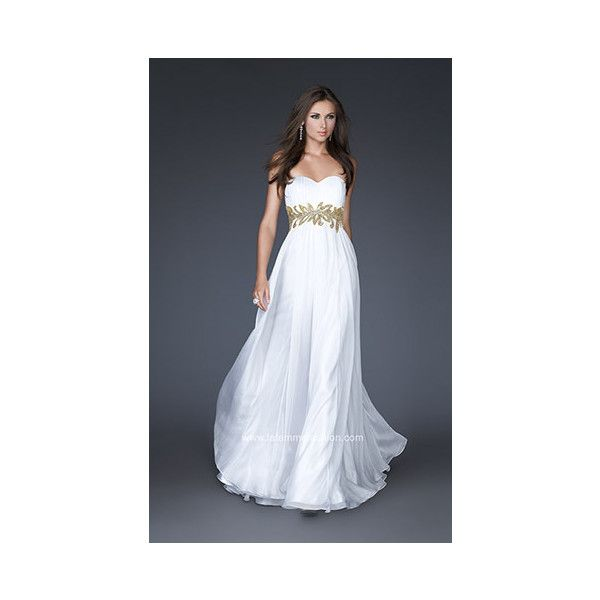 White And Gold Goddess Prom Dress ❤ liked on Polyvore featuring ...