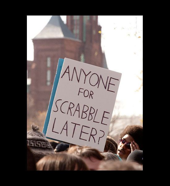 funny photos, funny picket signs, Anyone For Scrabble Later