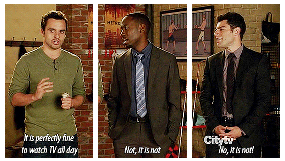 New Girl Quotes | New Girl Quote (About bored, stay home, television, watch tv)