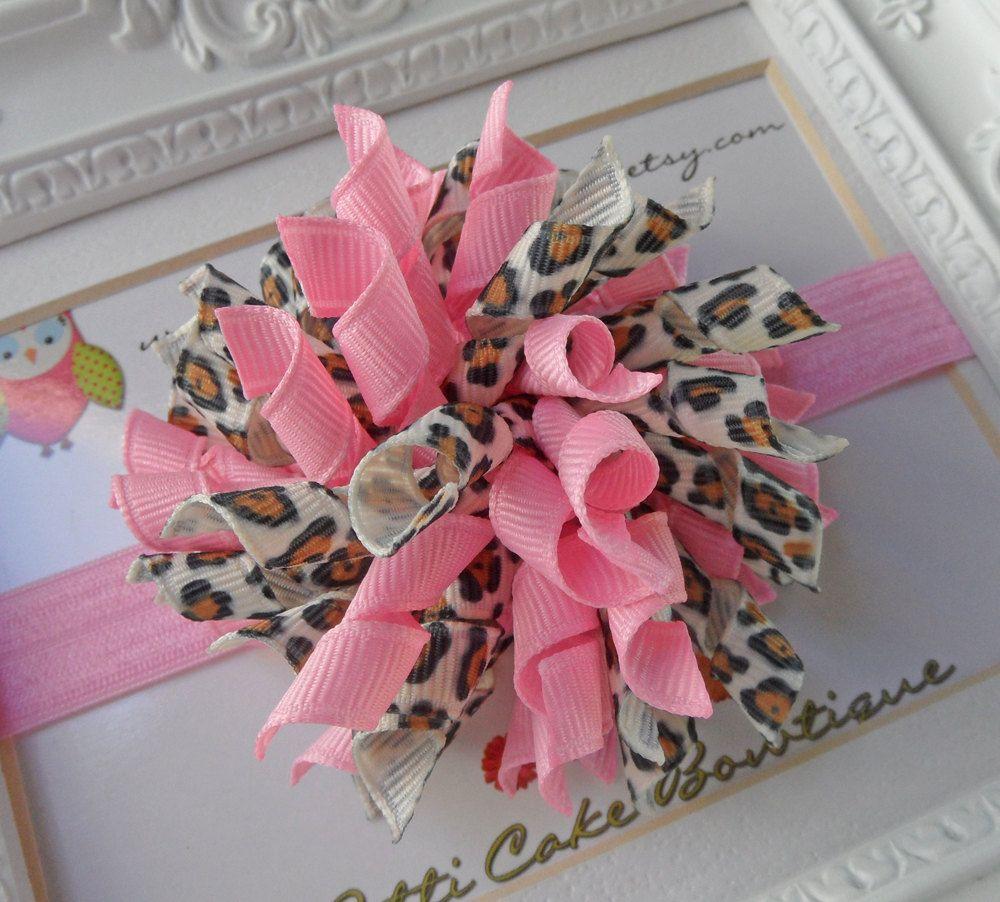Pink leopard korker hair bows korker bow hair bow headbands for