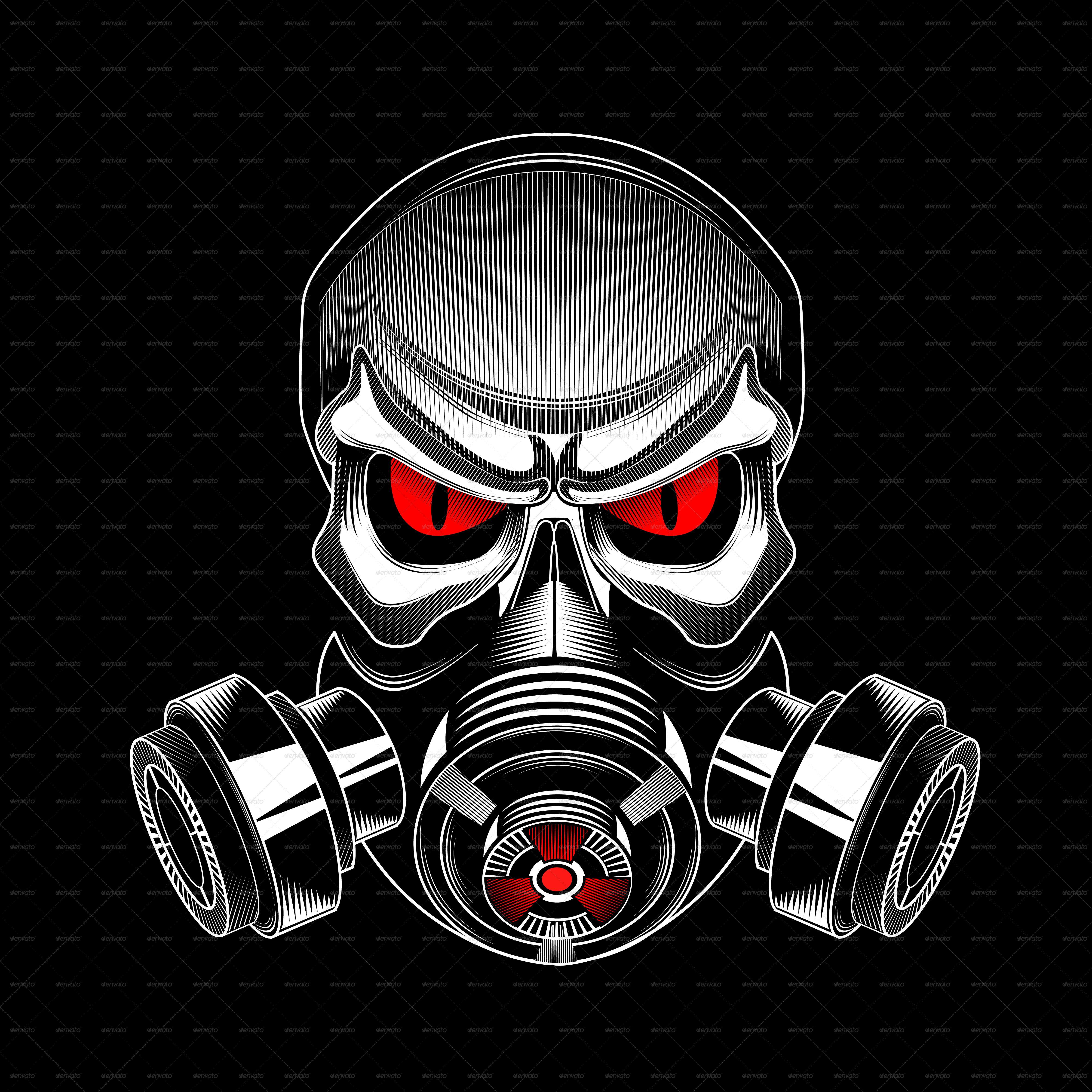 skull wearing a gas mask  seni tengkorak lukisan jepang