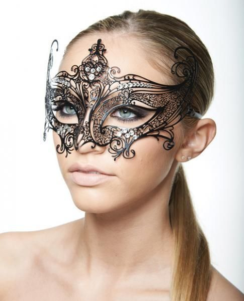 Masquerade Mask Clear Rhinestones Bling #2 Black Sexy Mardi Gras Halloween #Kayso #SexyEyemask #MardiGras
