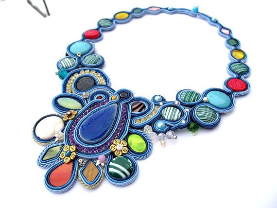 Colorful Soutache Necklace Turquoise Green door IncrediblesTN, $209.00