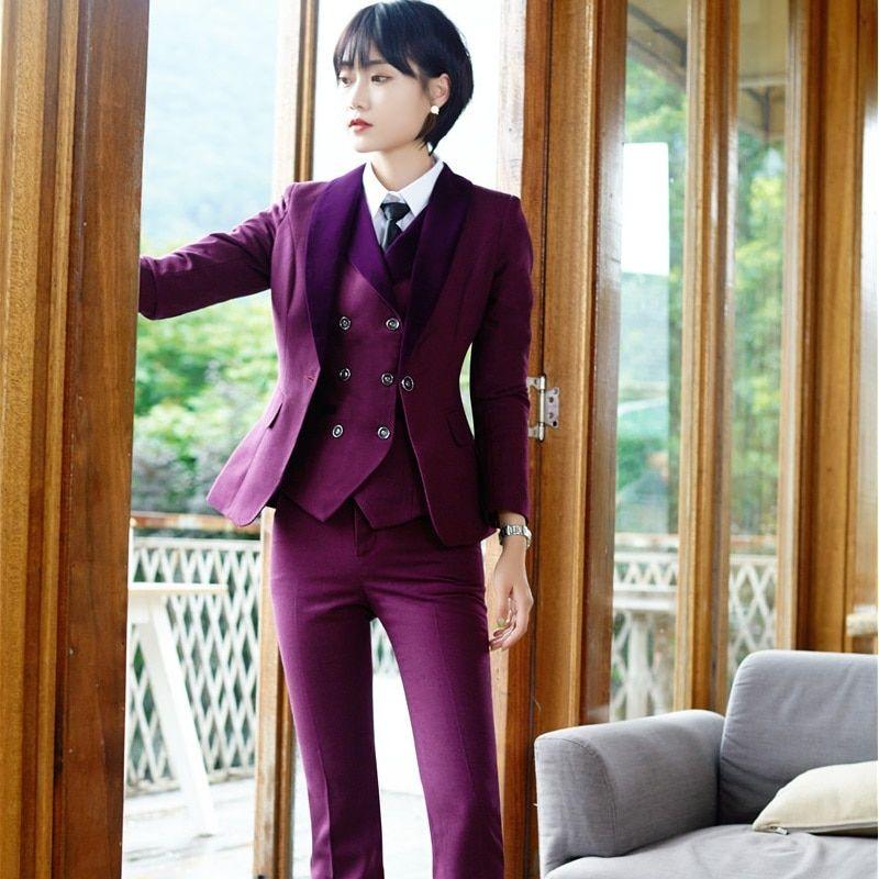Women S 3 Piece Pant Suit With Vest