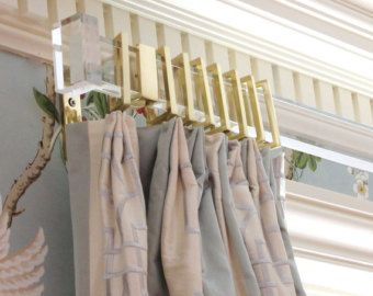 custom lucite curtain rod with brackets