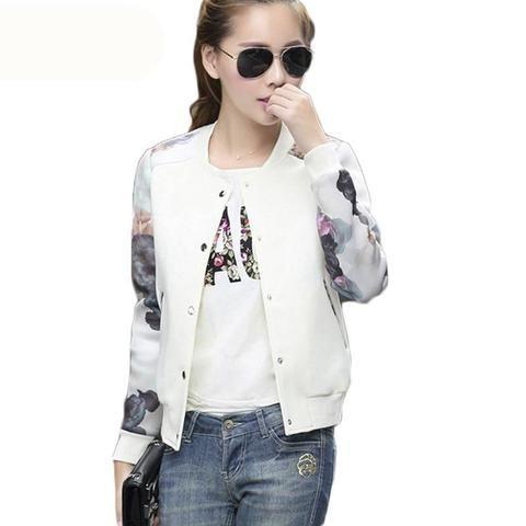 400ffd320ab 2017 spring autumn jacket women Flower Print Girl Plus Size Casual coat  jackets Thin Bomber Long Sleeves Coat Jackets