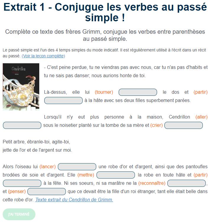 Exercice De Conjugaison Le Passe Simple Passe Simple Exercices Conjugaison Conjugaison Cm1