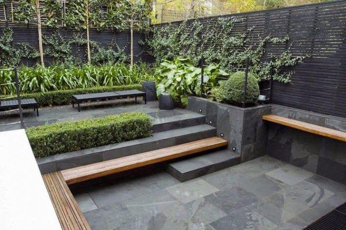 Hout beton tuin terras industrieel modern rooftop