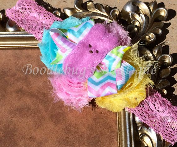 Handmade Peeps Shabby Headband with Purple by BoodlebugsBoutique, $8.00