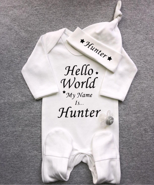 Personalised Hello World Babygrow and Hat Set  0bc179fcb252