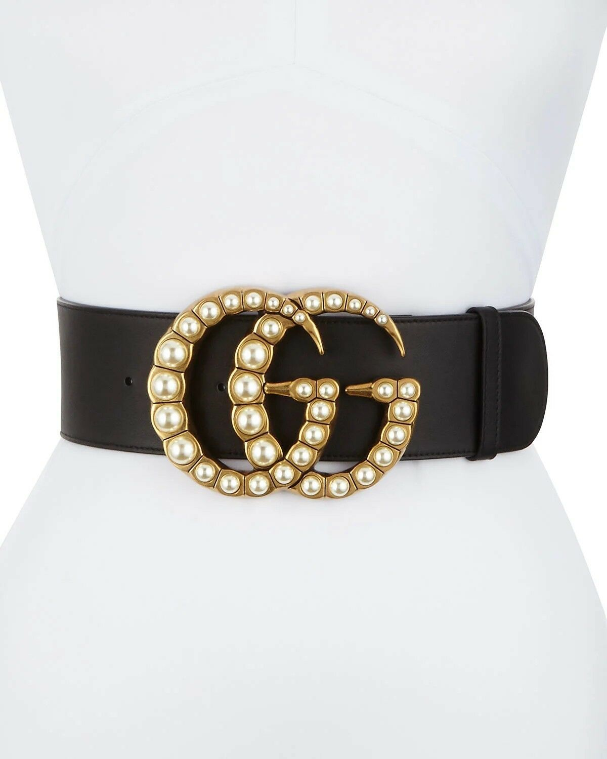 d5545f75d75 NWB  Guaranteed Authentic GUCCI Womens Wide Leather Belt with Pearl Double G