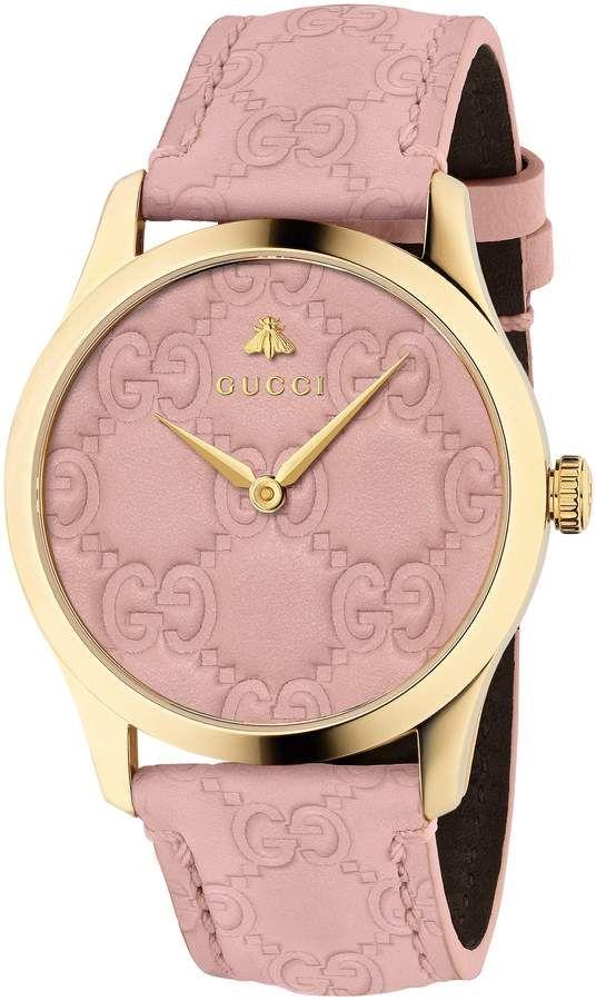 a1fffeac87b Gucci G-Timeless Logo Leather Strap Watch