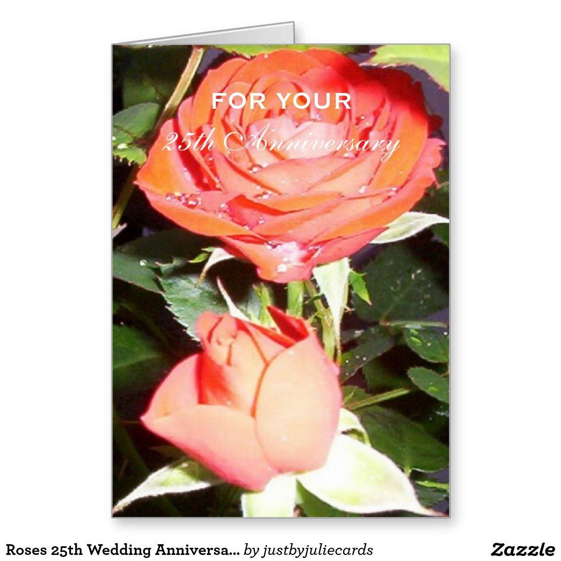 Roses 25th Wedding Anniversary Greeting Card Wedding