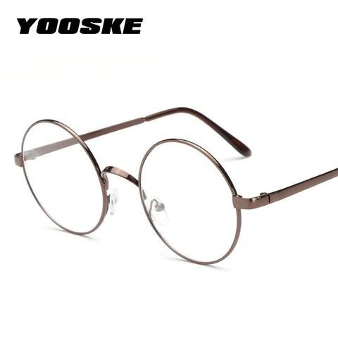 510bc966bf8 YOOSKE Retro Round Glasses Frames Women Men Vintage Transparent Eyeglasses  Unisex Metalmodlilj