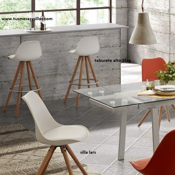 Taburete alto de estilo nordico en blanco y madera para for Taburete estilo nordico