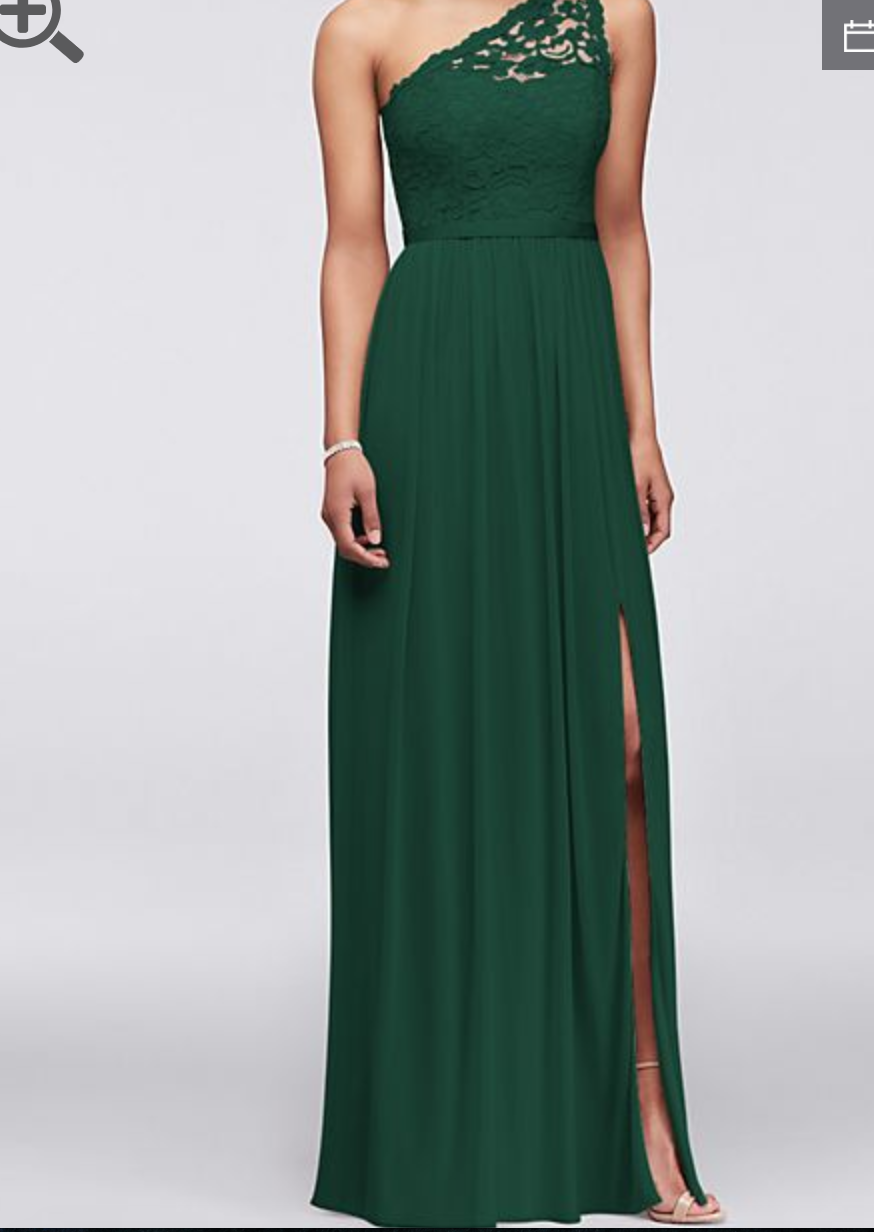 David S Bridal Long One Shoulder Lace Bridesmaid S Dress Bridesmaid Dress Used Size 14 100 Dark Green Bridesmaid Dress Davids Bridal Bridesmaid Dresses Bridesmaid Dresses