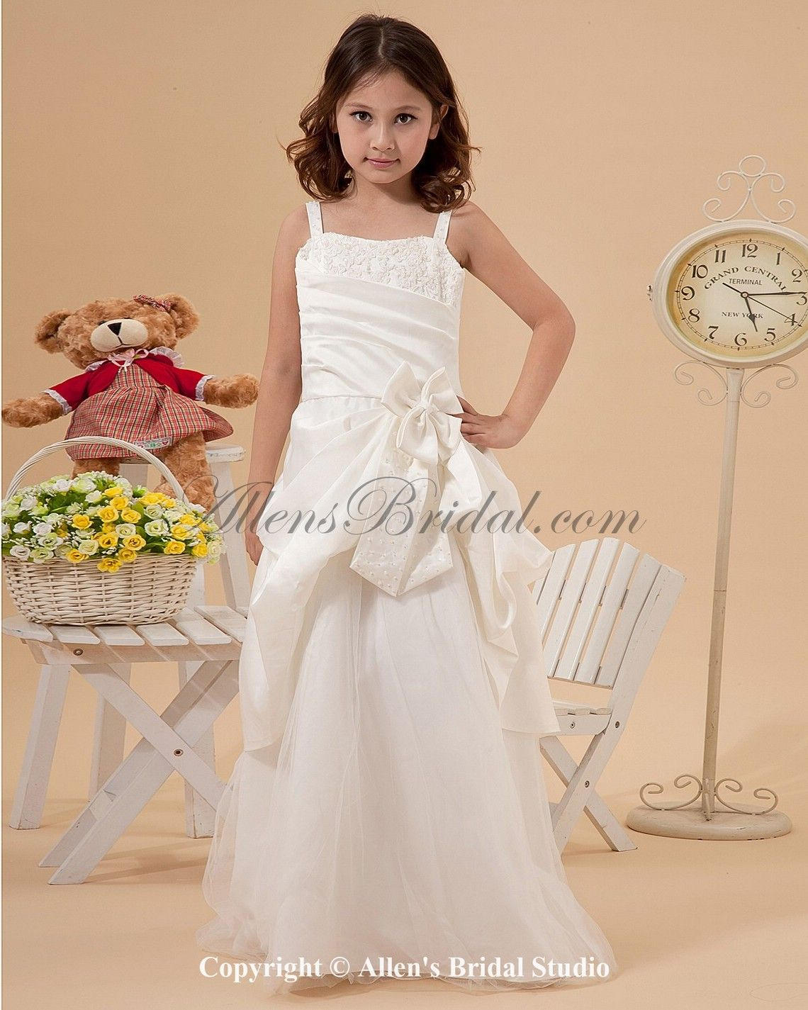 Satin and tulle straps floor length a line flower girl dress with satin and tulle straps floor length a line flower girl dress with embroidered on sale izmirmasajfo