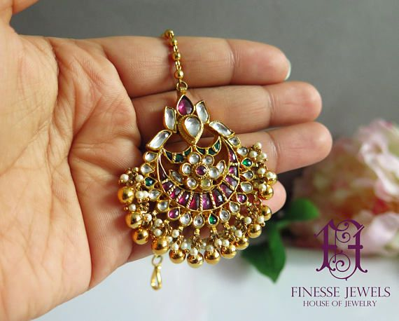 Wedding Jewelry,Bollywood Tikka,Pin Tikka Jewelry,Tikka Headpiece Maang Tikka Green Tikka Punjabi Jewelry,Kundan Chain