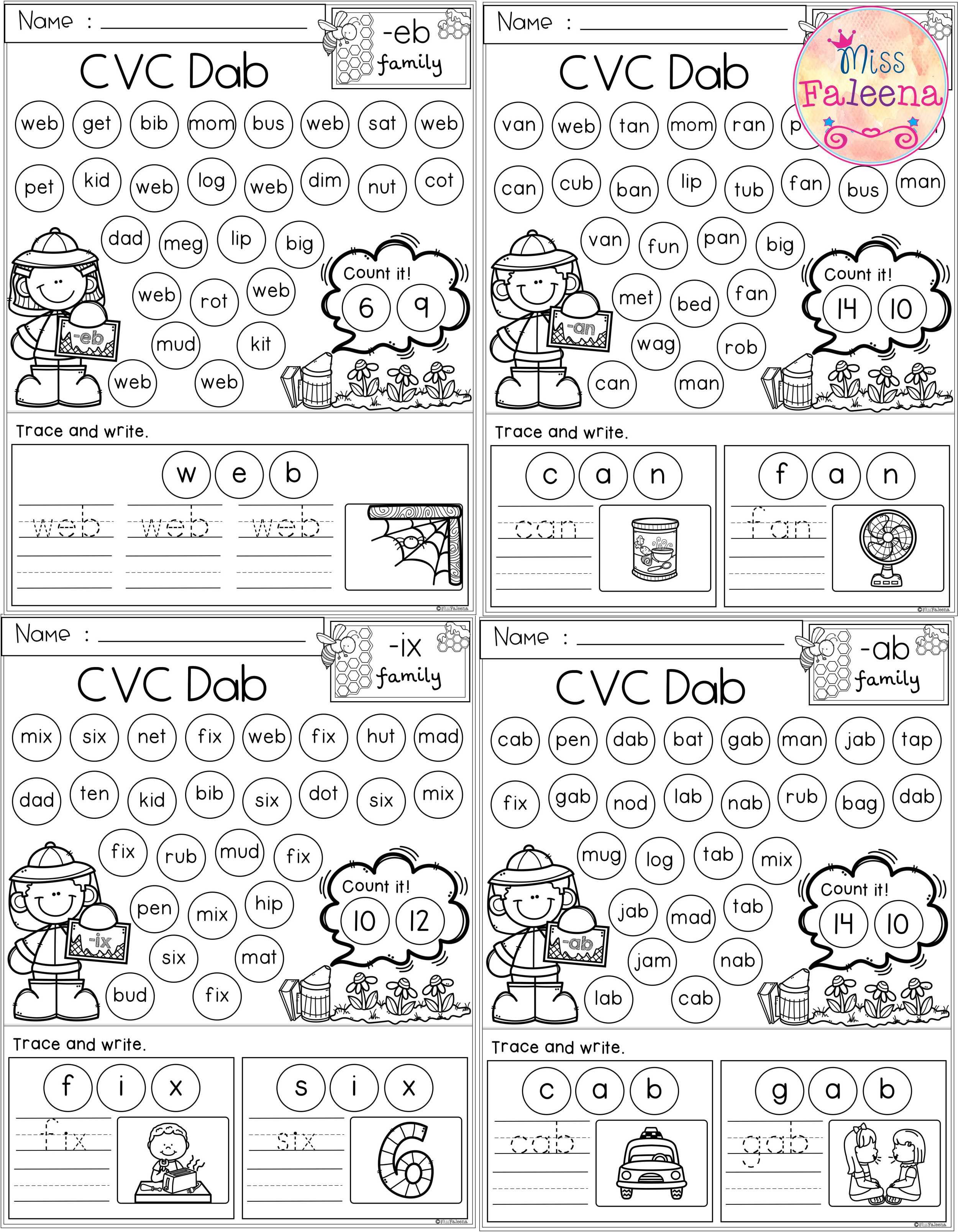 This Product Has 51 Pages Of Cvc Dab Worksheets This