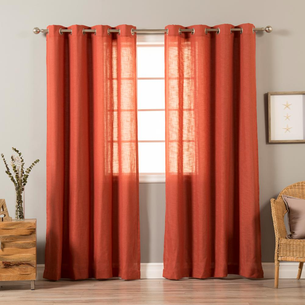 Orange Curtain Panels 84 In L Terra Red Linen Blend Curtain Panel In 2 Pack