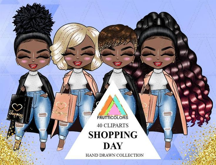 Shopping Day Doll Clipart African American Planner Afro Dolls Fall Fashion Daily Task Girl Au...