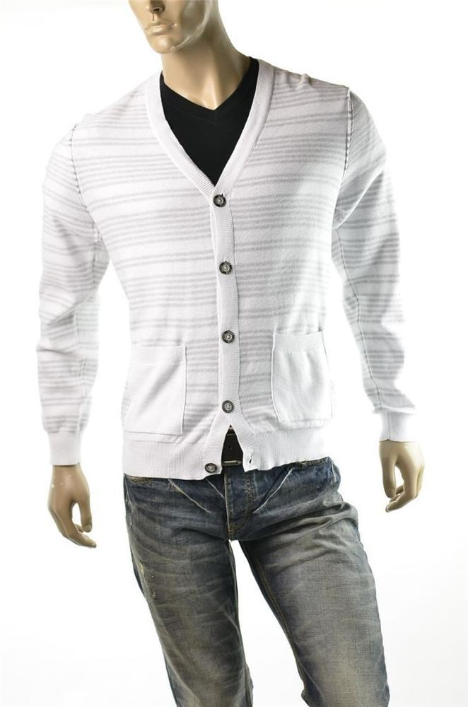 Sweater Calvin Klein Men's CK Jeans White Cotton Cardigan Shirt Sz ...