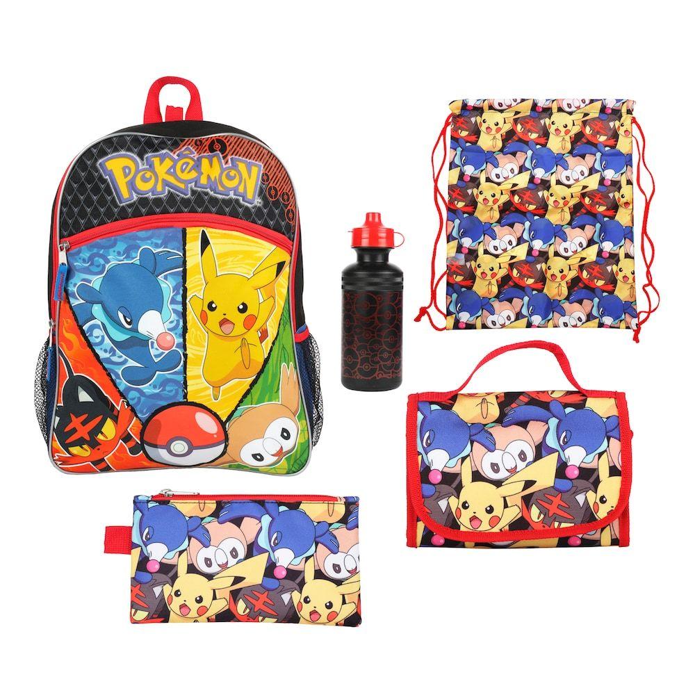 Kids Pokemon Backpack, Lunch Bag, Pencil Case, Water Bottle   Sling Bag  Set, Multi 56784327fc