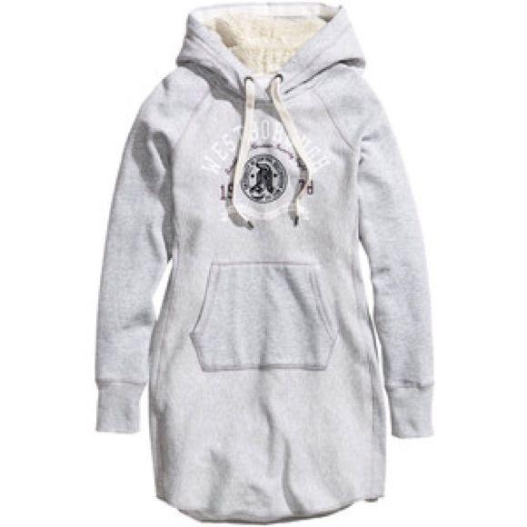 H M Sweatshirt Jersey Hooded Dress Sz M  91f12c34b