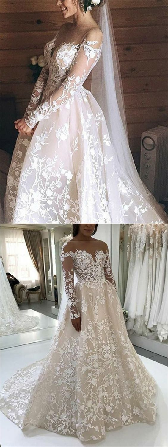 Aline bateau backless long sleeves light champagne lace wedding