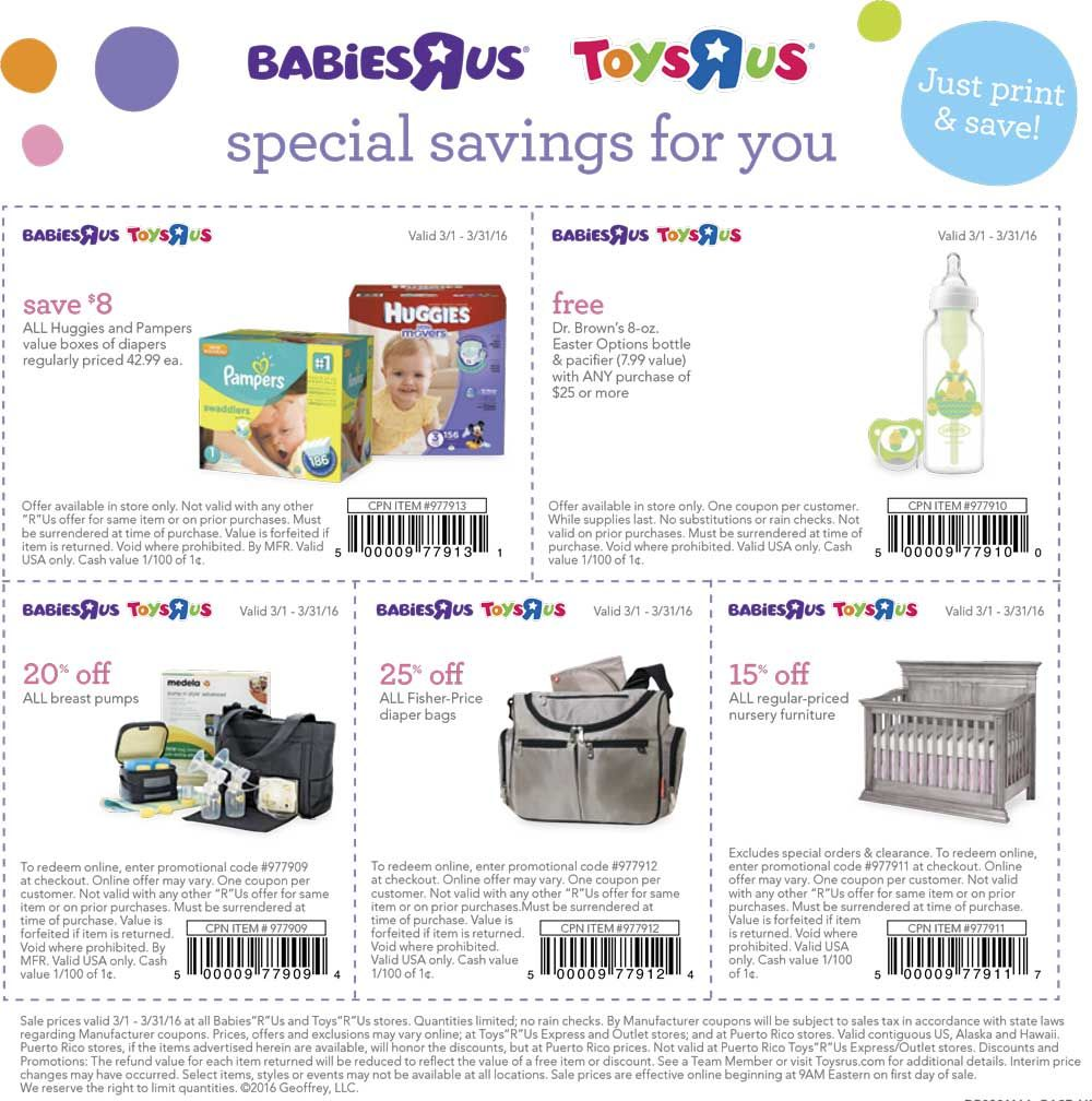 8 Off Diapers Free Bottle More At Toys R Us Babies R Us Free Diapers Shopping Coupons Diaper