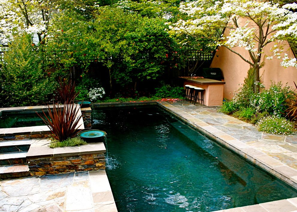 Sublime small in ground pools ideas in pool traditional for Garden pool designs
