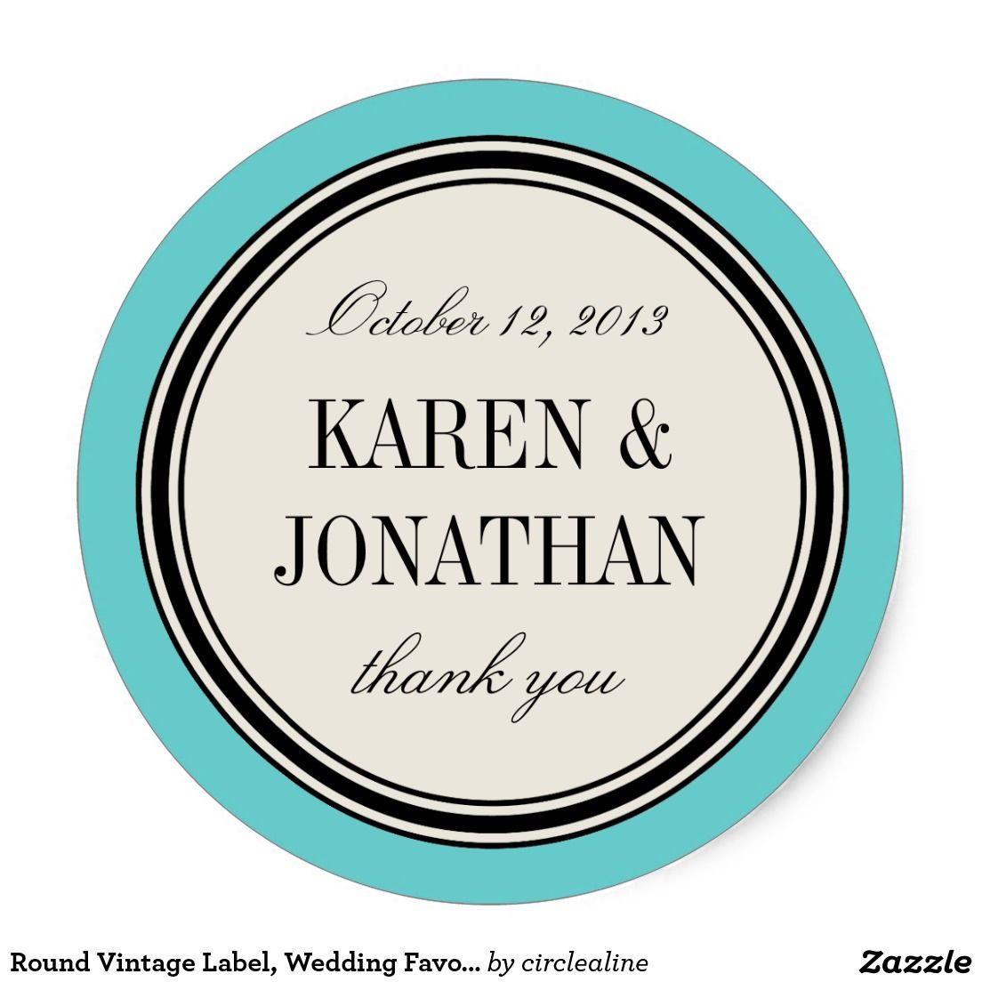 Round Vintage Label, Wedding Favor Template, Blue Classic Round ...