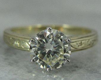 Art Nouveau Green Gold and Platinum Ladies Solitaire Diamond Engagement Ring RGDI1019D