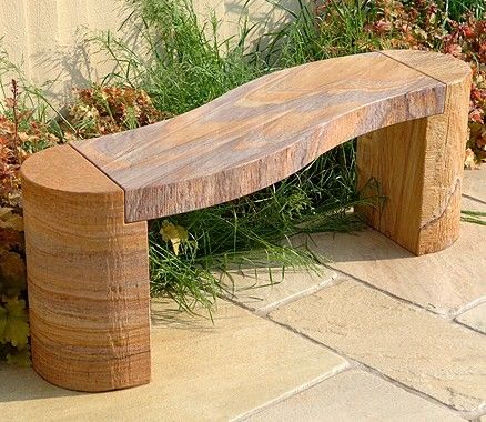Rainbow Sandstone Curved Garden Bench By Foras With Images Stone Garden Bench