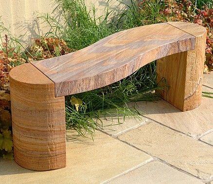 Sandstone Garden Bench. CURVED Bench In Rainbow Sandstone. Length : 130cm  Width : 30cm