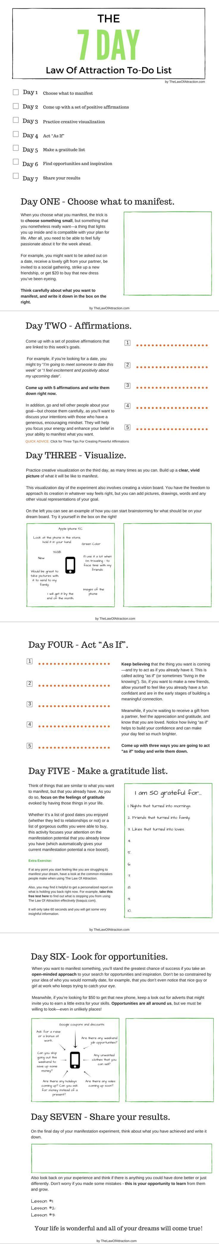 7 Day Step-By-Step Manifestation Plan | Manifestieren, Affirmationen ...